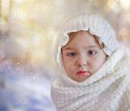 女婴在冬天 免版税图库摄影