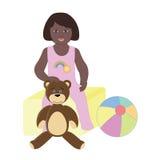 女婴坐玩具箱 免版税库存图片