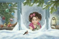 女婴小猫和红腹灰雀 免版税库存图片