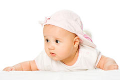女婴帽子粉红色纵向佩带 免版税库存照片