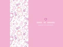 女婴水平的框架无缝的样式背景 免版税图库摄影