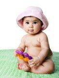 女婴开会 免版税库存照片