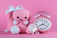 女婴托儿所逗人喜爱的兔宝宝玩具、假的安慰者和时钟 免版税库存照片