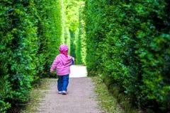 女婴留下单独单独新出生的走的孩子在树篱中 库存照片