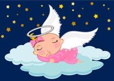 女婴睡觉逗人喜爱的动画片 免版税库存照片