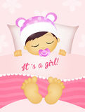 女婴睡觉 免版税库存图片