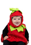 女婴草莓服装 免版税库存图片