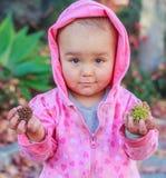 女婴要求选择在新鲜之间或凋枯刺 库存照片