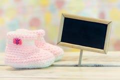 女婴诞生卡片 免版税库存照片