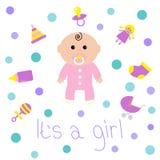 女婴阵雨卡片瓶,马,吵闹声,安慰者,袜子,玩偶,婴儿车,金字塔玩具 其女孩 奶油被装载的饼干 免版税库存图片