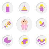 女婴阵雨卡片 其女孩 瓶,马,吵闹声,安慰者,袜子,玩偶,婴儿车金字塔玩具 图标来回集 库存图片