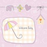 女婴阵雨卡片 免版税图库摄影