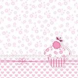 女婴阵雨用杯形蛋糕 免版税图库摄影