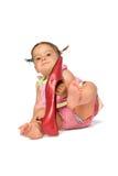 女婴鞋子尝试 免版税库存图片
