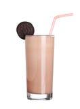 奶昔巧克力味道在白色隔绝的冰淇凌 免版税库存图片