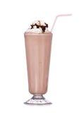 奶昔巧克力味道用糖浆和打好的奶油 免版税图库摄影