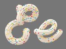 奶油和糖果字体 库存例证