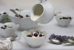 奶油色倾吐在一碗水果沙拉上 免版税库存照片