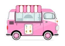 奶油色冰有篷货车 图库摄影