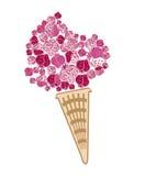 奶油色冰草莓 免版税库存照片