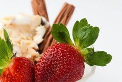奶油色冰草莓 免版税库存图片