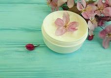奶油色化妆在自创木的背景的疗法自然萃取物产品秀丽木兰花 免版税图库摄影