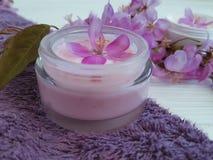 奶油色化妆放松秀丽关心温泉治疗有机保护健康产品手工制造在蓝色木 库存照片