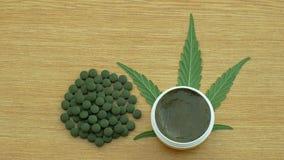 奶油色大麻和片剂医疗胶囊或药片大麻和叶子cannabidiol CBD收获了烘干种子质量为 影视素材