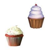 与奶油的蛋糕,杯形蛋糕。 果仁巧克力。 库存图片
