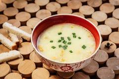 奶油色汤和面包油煎方型小面包片 免版税库存图片