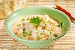 奶油色汤用油煎方型小面包片 库存图片