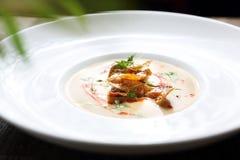 奶油色汤由被烘烤的土豆制成用被烘烤的土豆 库存照片