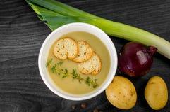 奶油色汤的可口部分用薄脆饼干 库存照片