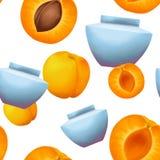 奶油色瓶子和杏子无缝的样式 向量例证