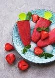 奶油色自创冰草莓 免版税库存照片