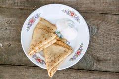 奶油色薄煎饼镀酸二 库存照片