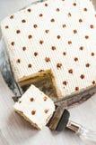 奶油色蛋糕方形的大面包装饰用可可粉,在padd的谎言 免版税库存照片