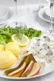 奶油色鲱鱼用黄瓜、土豆和沙拉 免版税图库摄影