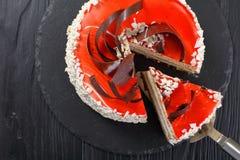 奶油蛋糕分层堆积用乳脂干酪奶油甜点 免版税库存图片