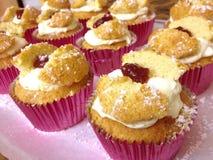 奶油&山莓果酱填装了松饼天使蝴蝶杯形蛋糕蛋糕 免版税图库摄影