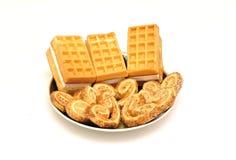 奶蛋烘饼和饼干 库存图片