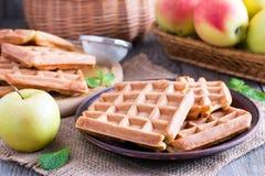 奶蛋烘饼用苹果 例证百合红色样式葡萄酒 免版税库存图片