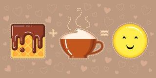 奶蛋烘饼的传染媒介例证与巧克力釉、热奶咖啡杯子和微笑的 免版税库存照片
