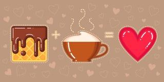 奶蛋烘饼的传染媒介例证与巧克力釉、热奶咖啡杯子和红色心脏的 库存图片