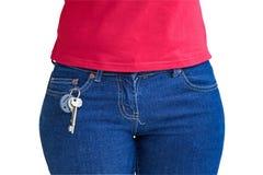 她关键字口袋停留的妇女 免版税库存图片