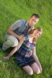 她的丈夫孕妇 免版税图库摄影