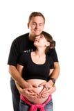 她的丈夫孕妇 免版税库存照片