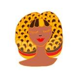 她的头发被画的幻想的妇女, 库存照片