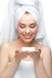 她的掌上型计算机肥皂妇女 库存图片