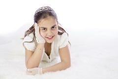 她的第一个圣餐的女孩 免版税图库摄影